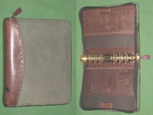 Compact 1 25 Green Suede Brown Leather Franklin Covey Quest Planner