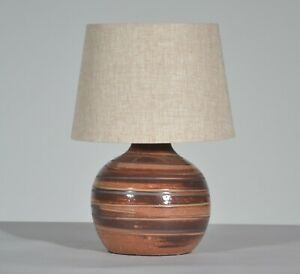 Vintage Jane Gordon Martz For Marshall Studios Red Brown Ceramic Table Lamp