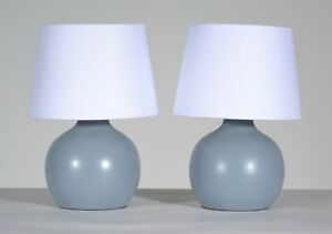 Pair Jane Gordon Martz For Marshall Studios Light Blue Ceramic Table Lamps
