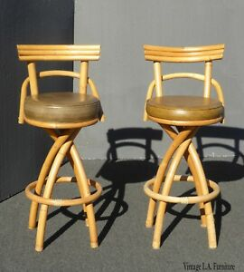 Pair Of Mid Century Bamboo Swivel Bar Stools Gold Sage Green Tiki Palm Beach