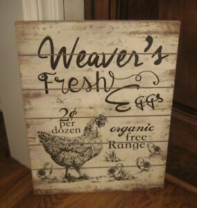 Rooster Chicken Organic Eggs Sign Primitive French Country Farmhouse Barn Decor