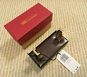 New Bosca Gold Post Business Card Holder Black Cherry Old Leather