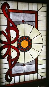 Vintage Antique Stained Glass Window Panel 43 X 28 1 4 Home Improvement