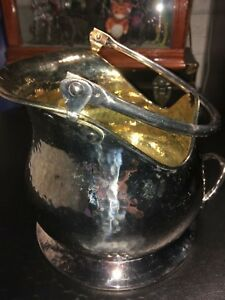 Vintage Calegaro Italy Hammered Silverplate Wine Cooler Ice Bucket Gold Plated