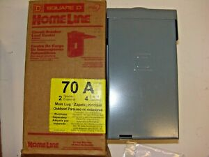 Square D Homeline 70 Amp 2 space 4 circuit Outdoor Main Lug Load Center New