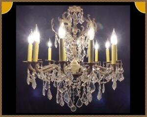 Vintage Antique Large French Brass Bronze Chandelier Amazing Leaded Crystals