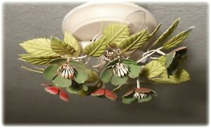 Vintage Italian Tole Flush Mount Petite Chandelier With Flowers And Leaves