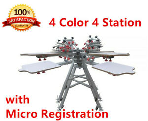 Hot 4 Color 4 Station Silk Screen Printing Press Machine With Micro Registration