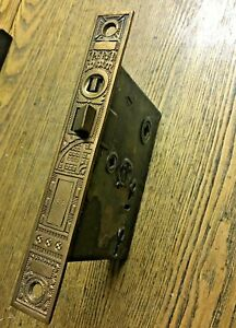 Antique Ornamental Bronze Faced Entry Mortise Lock Pat 1878 By R