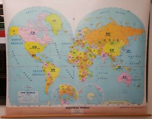 Political World 60 X 48 Pull Down Classroom Map 1272a