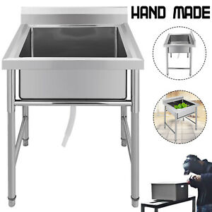 Commercial Stainless Steel Kitchen Utility Sink 30 Wide Handmade