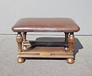 Antique Victorian Style Brown Leather Carved Wood Bench Foot Stool Ottoman