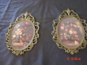 2 Vintage Victorian Metal Oval Picture Frames Florals Made Italy Bubble Glass