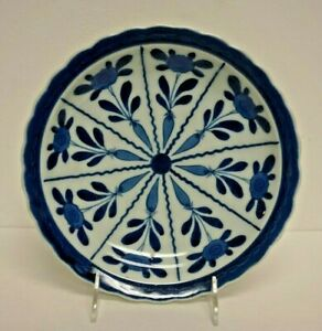 Vintage Japanese Blue White Hand Painted Scalloped Edge Porcelain Plate 12