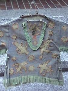 Antique Native American Indian H Painted Eagles Leather Blouse On Celluloid Box