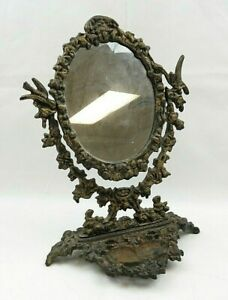 Vintage Vanity Table Cast Iron Oval Victorian Mirror Gold Color Flowers Birds