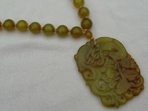 Vintage Antique Art Deco Silver Carved Chinese Jade Bead Amulet Plaque Necklace