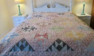 C1890 Hand Stitched Feedsack Quilt 76x80 Pieced Diamond Pattern Quilt As Is