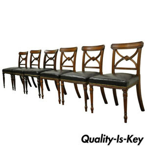 Set Of 6 Custom English Regency Carved Solid Mahogany Library Dining Side Chairs