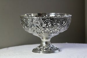 Antique Early 20thc S Kirk Son Roses Repousse Sterling Silver Footed Bowl