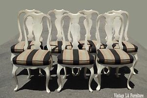 Set Six Vintage Queen Anne Style White Dining Chairs W Striped Fabric 1 Seven
