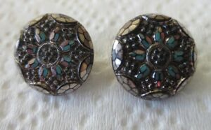 Two Vintage Black Glass Buttons W Faceted Cuts Silver Luster In Flower Shape