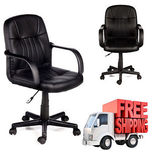 Comfort Leather Chair Office Home Black Contemporary Mid Back Computer Desk