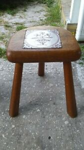 Vtg 3 Leg Solid Wood Milking Stool Inlaid Tile Farm Country Decor Plant Stand