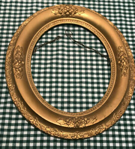 Antique Gold Victorian Oval Wood Frame Raised Relief 14 X 12 Accepts 8 X 10 Art