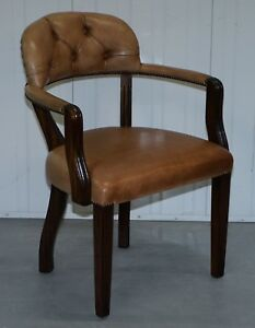 1 Of 4 Rrp 2300 Brown Leather House Of Chesterfield Court Office Dining Chairs
