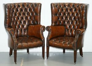 1930 S Pair Of Chesterfield Barrel Back Porters Wingback Armchairs Brown Leather