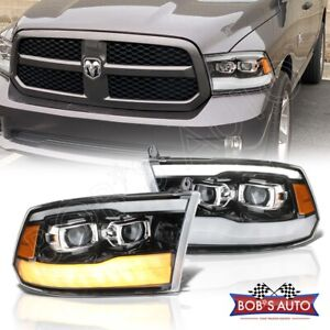 For 09 18 Ram 1500 2500 2019 Style Gloss Black Projector Headlights Led Drl