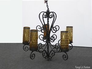 33 Tall Vintage Spanish Style Wrought Iron Chandelier Light W Tall Gold Shades
