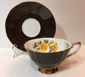 Staffordshire Fine English Bone China Tea Cup And Saucer Brown With Yellow Roses