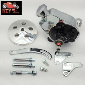 Sb Chevy Chrome Saginaw Power Steering Pump Bracket Aluminum Pulley Kit Sbc