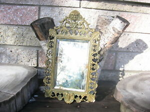 Antique Brass Wall Table Mirror Rococo Bacchus Head God Harvest Wine Fertility