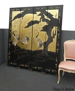 Vintage Asian Oriental Four Panel Screen W Cranes Room Divider Double Sided