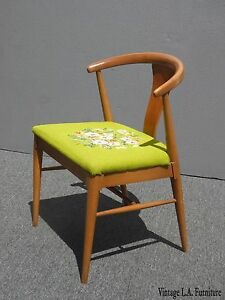 Vintage Mid Century Danish Modern Style Green Floral Needlepoint Accent Chair