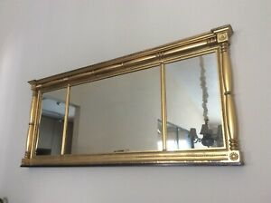 Antique Federal Style Gilted Wood Framed Mantle Mirror