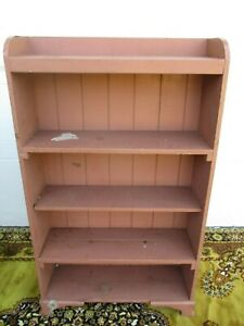 Vintage Rustic Open Bookcase Painted Wood Cupboard Old Shabby Open Shelf Cabinet