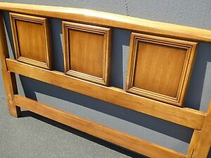 Vintage Mid Century Modern Wood Queen Size Headboard By White Furniture Co
