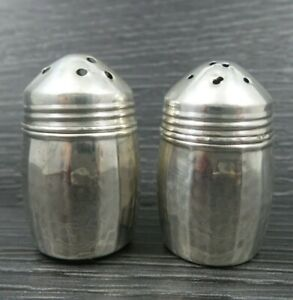 Vintage Sterling Silver Small Hammered Salt And Pepper Shakers Usa S C C Co