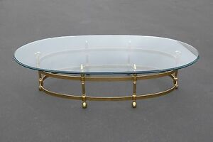 Vintage French Italian Brass Swan Oval Cocktail Coffee Table Beveled Glass