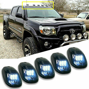 5x Smoked Lens Roof Top Cab Lights Led White For Toyota Tacoma Tundra Etc