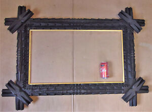 Beautiful Antique Folk Tramp Art Stick Carved Picture Frame Large For 16x28 Pic