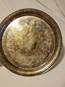 Vtg Wm Rogers 12 Silverplate Etched Serving Tray Platter 10 Rope Braid Edge