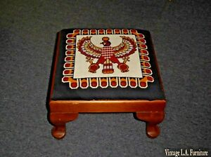 Vintage Needlepoint Falcon Of Tutankhamun Footstool With Queen Anne Legs