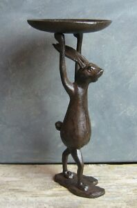 Cast Iron Bunny Rabbit Statue Candle Holder Primitive French Country Urban Decor