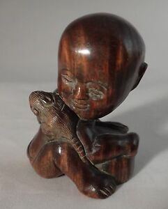 Vintage Japanese Wood Figure Netsuke Signed 20th Century 1 Tall