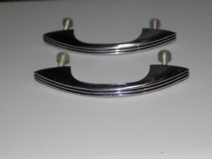 Two Vintage Chrome Drawer Pulls Cabinet Handles Art Deco